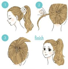 In order to keep the ponytail in place, you can also use clear elastic first and then wrap the stand of hair around it. #KamiMado.