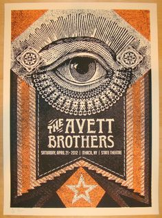the avett brothers music gig posters | 2012 Avett Brothers - Ithaca Concert Poster by Status Serigraph -