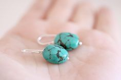 Turquoise earrings. Sterling silver earrings with Turquoise beads. Blue matrix Turquoise, natural gemstones, handmade dangles. by masaoms on Etsy