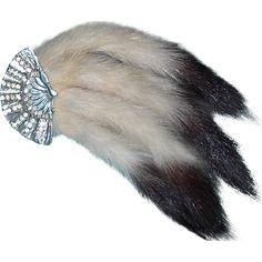 fur broochs | Rhinestone Fan and Erwin Tail Fur Brooch from banglesandbeadsonline on ...