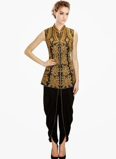 Cbazaar Black Silk Dhoti Pant Suit