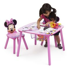 Disney Minnie Mouse Wood Kids Storage Table and Chairs Set by Delta Children Size: Table dimensions: inchLarge x inchD x inchH Chair dimensions: inchL x 10 inchD x inchH, Multicolor Kids Picnic Table, Kids Table And Chairs, Table And Chair Sets, Toy Storage Bench, Kids Storage, Table Storage, X 23, Wooden Toy Chest, Minnie Mouse