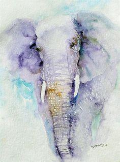 """Dream Blues Elephant"" original fine art by Arti Chauhan"