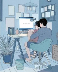 This Korean Artist Giving Serious Through His Illustration Drawing Cute Couple Drawings, Cute Couple Art, Anime Love Couple, Cute Anime Couples, Cute Drawings, Cute Couple Cartoon, Couple Illustration, Character Illustration, Illustration Art