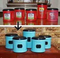 Great DIY upcycle idea using old Folgers containers! Perfect for storing Kids Craft Supplies! Wish I had kept the giant Folger's container I just recycled at work a couple weeks ago. Do It Yourself Furniture, Do It Yourself Home, Fun Crafts, Diy And Crafts, Arts And Crafts, Indoor Crafts, Upcycled Crafts, Recycled Home Decor, Repurposed Items