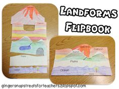 I do not have much experience with flip books but I have found quite a few examples when looking for ideas. They seem like a great interactive way for students to learn and engage with topics, in this case landforms. 3rd Grade Social Studies, Social Studies Activities, Teaching Social Studies, Science Activities, Science Ideas, Science Experiments, Teaching Geography, Teaching Science, Science Education