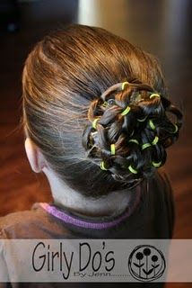 Pretty prom bun,, would be neat to do for cheerleading with orange and black hair ties.