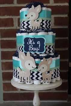 3 Tier Navy Teal and Mint Woodland Deer Boys by BabeeCakesBoutique