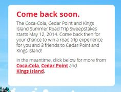 Enter to win a trip to Cedar Point from Coca-Cola. Contest starts May 12th, 2014!