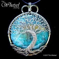 Blue orgonite - sterling silver tree of life pendant - round - handmade jewelry by tim whetsel