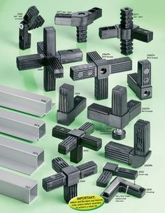 Square tube plug-in connectors. Flexliner is the stockist of Tube connectors. Modular Furniture, Metal Furniture, Diy Furniture, Furniture Design, Casas Containers, Construction, Diy Camper, Cool Tools, Joinery