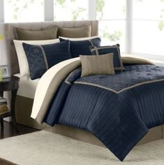 Mira 12-Piece Comforter Set in Navy contemporary-comforters-and-comforter-sets
