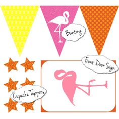 Free Tropical Party Printables | Party Decorations | Bunting | Cupcake Toppers | Flamingo Sign