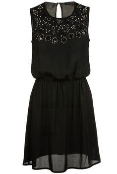 Black Sleeveless Rhinestone Bead Chiffon Dress