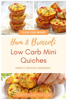 These ham & broccoli low carb mini quiches are the perfect way to start your day! Great for a healthy meal on the go, these tasty quiches are both packed with flavor and will keep you feeling full until lunch time! #lowcarbquiche #lowcarbminiquiches #lowcarbrecipes Best Low Carb Recipes, Favorite Recipes, Healthy Recipes, Ham And Broccoli Quiche, Muffin Pan Recipes, Low Carb Quiche, Large Family Meals, Ham And Eggs, Mini Quiches