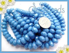 25 Turquoise Blue Gem Cut Faceted Firepolished Czech by sugabeads, $4.00