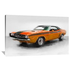 Naxart '1968 Dodge Challenger Watercolor' Painting Print on Wrapped Canvas Size: