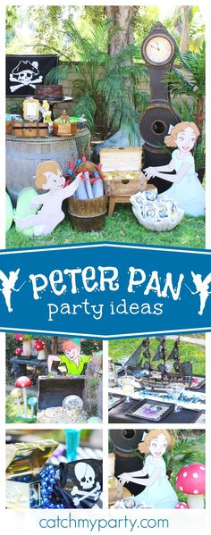 Fly away to Neverland with this fun Peter Pan birthday party! The party decorations are fantastic!! See more party ideas and share yours at CatchMyParty.com