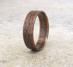 Copper Hammered Ring Wedding Band Copper Wedding by SilverSmack