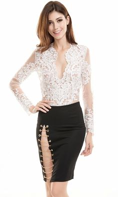 Mass Appeal White Sheer Mesh Lace Long Sleeve Plunge V Neck Bodysuit