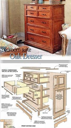 Woodworking with easy wood projects plans is a great hobby but we show you how to get started with the best woodworking plans to save you stress & cash on your woodworking projects Woodworking Furniture Plans, Woodworking Projects That Sell, Diy Woodworking, Dresser Plans, Oak Dresser, Dressers, Furniture Projects, Wood Furniture, Wood Projects