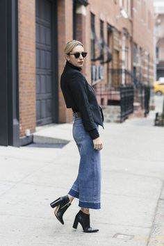How To Style Cropped Wide-Leg Denim
