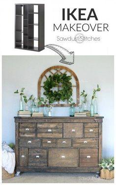 - Ikea Makeover into Pottery Barn Apothecary sawdust 2 Stitches #interiordecorstylespotterybarn