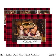 Happy Holidays 4 Photo Collage Red Buffalo Plaid Invitation Personalised Christmas Cards, Holiday Greeting Cards, Photo Greeting Cards, Christmas Photo Cards, Christmas Photos, Christmas Greetings, Family Photo Collages, Personalized Photo Gifts, Black Christmas