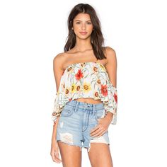 Wildfox Couture Wild Daisy Ruffle Top ($80) ❤ liked on Polyvore featuring tops, sweaters, drape top, sheer overlay top, drape sweater, frill top and drapey sweater