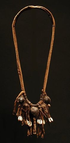 West Africa | Talisman necklace from the Fulani people | Leather and shell