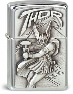 Chrome Zippo lighter with Thor emblem. Available from Zippo Germany.