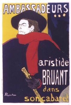 Arte Nova França Henri de Toulouse-Lautrec Aristide Bruant dans son cabaret…