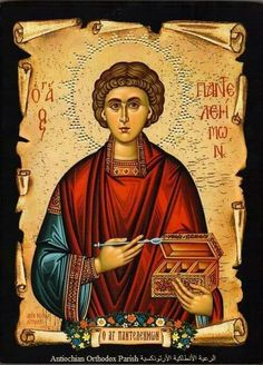 St Panteleimon the Physician icon Raphael Angel, Archangel Raphael, Angel Warrior, Byzantine Art, Religious Images, Day Book, Albrecht Durer, Art Icon, Orthodox Icons