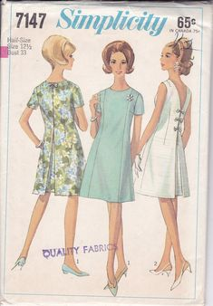Free Us Ship Sewing Pattern Vintage Retro 1960s 60s 1966 Simplicity 7147 Bust 33 Size 12 1/2 Dress Back Inverted Pleat Neatly Cut Complete by LanetzLiving on Etsy