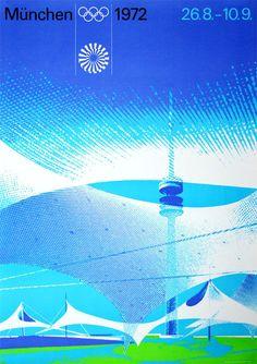 Olympische Spiele 1972 München Motiv Gelände DIN A1 OLYMPIADE Otl Aicher SELTEN