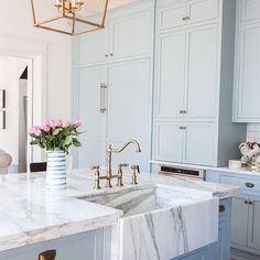 #marble #farmhouse #sink with #softblue #cabinetry Design by @addisonswonderland ✔️