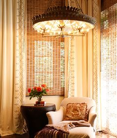 Erin Martin - love her stuff -- easy elegance with bamboo chicks and lux long drapes ~ lovely window treatment