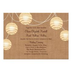 Burlap Party Lanterns Wedding Invitation   Click on photo to purchase. Check out all current coupon offers and save! http://www.zazzle.com/coupons?rf=238785193994622463  #weddings #invitations