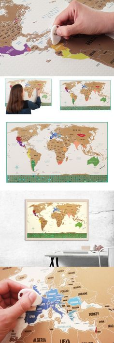 Other travel maps 164807 scratch off world map travel tracker other travel maps 164807 scratch off world map travel tracker poster with us states and country flags buy it now only 3332 on ebay gumiabroncs Gallery