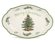 Spode Christmas Tree Merry Christmas Tree Tray One Rectangular Tray Earthenware Christmas Tree on light cream body with green band Dishwasher safe; to 340 degrees Mix and Match with Spode Christmas Tree Grove pattern Merry Christmas, Christmas China, Spode Christmas Tree, Christmas Tree Design, Christmas Dishes, Green Christmas, Christmas Cookies, Christmas Kitchen, Christmas 2015