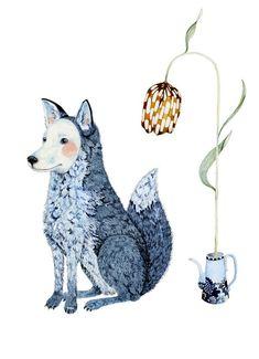 Print  Winter fox illustration 8x11 by ChasingtheCrayon on Etsy, £13.00