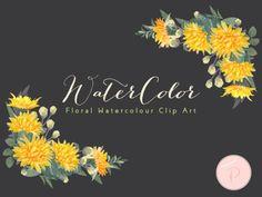 wca69-Dandelion Watercolor Flower, Dandelion Floral Clipart florals