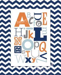 alphabet chevron nursery wall art - (navy blue, orange, gray) digital file. $8.50, via Etsy.