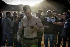 He's ripped: On Tuesday, producer Frank Marshall tweeted the first picture of the shirtless star on set captioned: 'First day of principal photography complete and happy to report, BOURNE is back! #Bourne2016.'