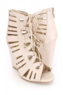 Beige Lace Up Single Sole Bootie Wedges Faux Leather