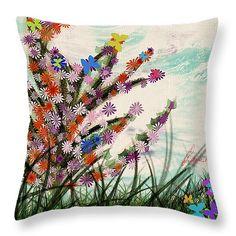 """Fun flower Throw #Pillow 14"""" x 14"""""""