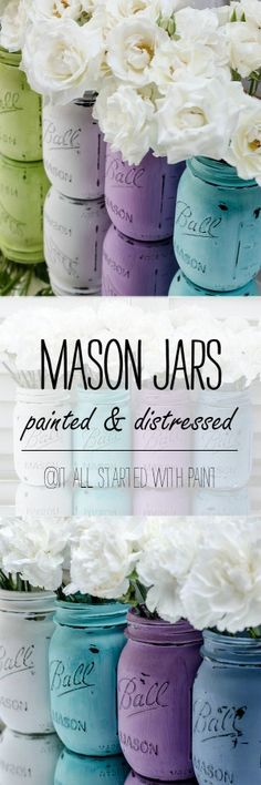 Mason Jars Painted & Distressed - Spring Colors, Decor