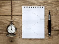 Watch, fountain pen and note book. Abstract Photos