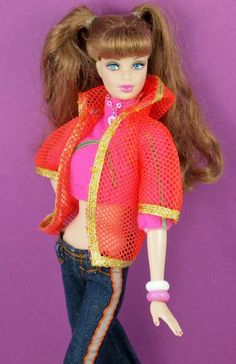 Barbie Vintage Living Barbie Orange Mesh Jacket #1116