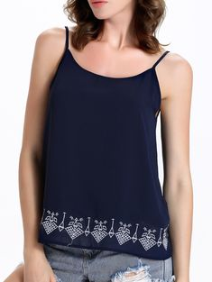 Casual Spaghetti Strap Embroidered Women's Tank Top #jewelry, #women, #men, #hats, #watches, #belts